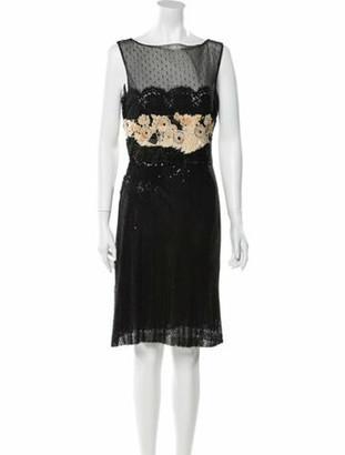 Valentino Lace Pattern Knee-Length Dress Black