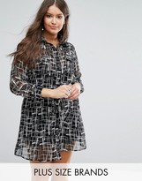 Koko Plus Shirt Dress In Mono Print