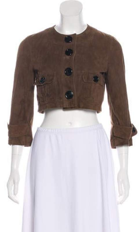 Burberry Suede Cropped Jacket Brown Suede Cropped Jacket