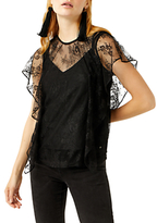 Warehouse Lace Ruffle Top, Black