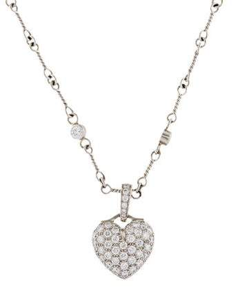 Tiffany & Co. Platinum Diamond Heart Pendant Necklace