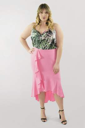 Marée Pour Toi Maree Pour Toi The High Low Ruffle Skirt in Pink Size 24