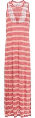 Joie Brellen Twist-back Striped Slub Linen-jersey Midi Dress