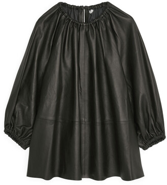 Arket Gathered Leather Blouse