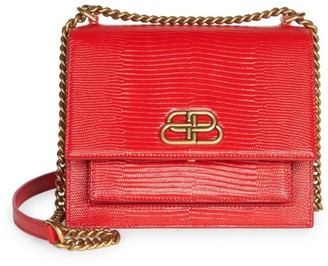 Balenciaga Small Sharp Lizard-Embossed Leather Shoulder Bag