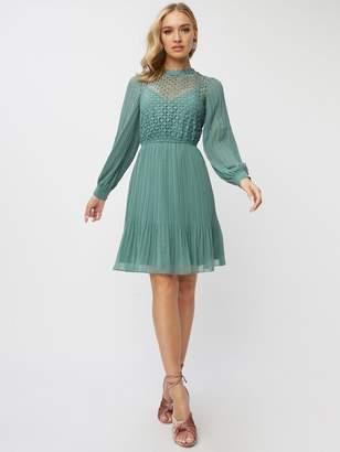 Little Mistress Petite Lace Skater Dress - Blue