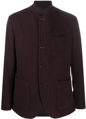 Eleventy Buttoned High-Neck Blazer