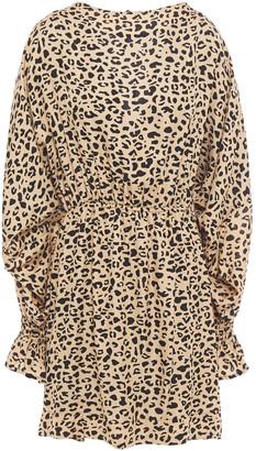 Baum und Pferdgarten Aemiley Open-back Leopard-print Satin-jacquard Mini Dress