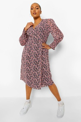 boohoo Plus Ditsy Floral Puff Sleeve Wrap Midi Dress