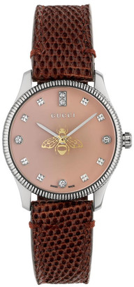 Gucci 29mm G-Timeless Blue Bee Watch with Leather Band