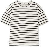 Current/Elliott The Roadie Distressed Striped Cotton-blend T-shirt - Cream