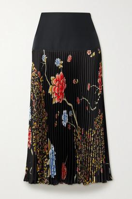 Victoria Victoria Beckham Pleated Floral-print Satin-twill Midi Skirt - Black