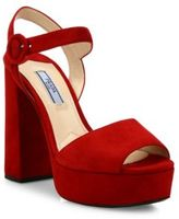 Prada Suede Peep-Toe Platform Sandals