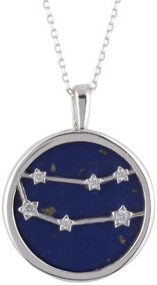 Latelita Zodiac Lapis Lazuli Gemstone Star Constellation Pendant Necklace Silver Gemini