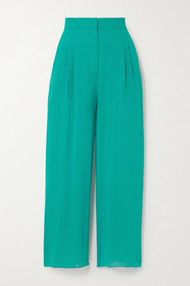 Fleur Du Mal Margo Lace-trimmed Silk-chiffon Wide-leg Pants - Emerald