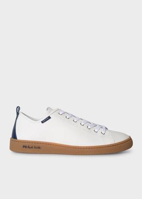 Men's White Leather 'Miyata' Trainers With Navy Heel Detail