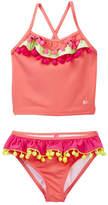 Betsey Johnson Ruffle Pompom Trimmed 2-Piece Tankini (Toddler Girls)