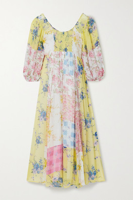 LoveShackFancy Roslyn Patchwork Floral-print Silk-georgette Midi Dress - Yellow