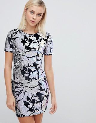 Parisian short sleeve sequin dress