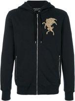 Alexander McQueen embroidered hooded sweatshirt - men - Cotton/copper - S