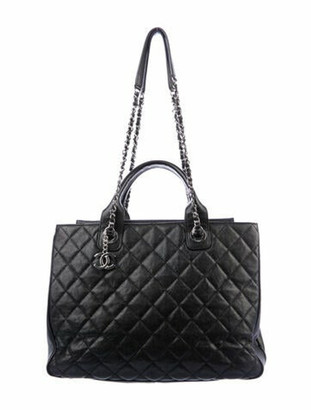 Chanel 2018 Large Quilted Shopping Tote Black