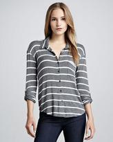 Splendid Striped Button-Up Top, Gray
