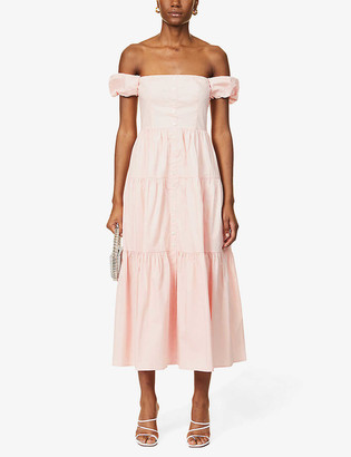 STAUD Elio off-the-shoulder stretch-cotton poplin maxi dress