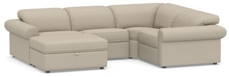 Pottery Barn PB Ultra Lounge Roll Arm Upholstered 5 Pc Reclining Storage Chaise Sectional