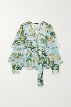 PatBO Ruffled Floral-print Crepon Blouse - Mint