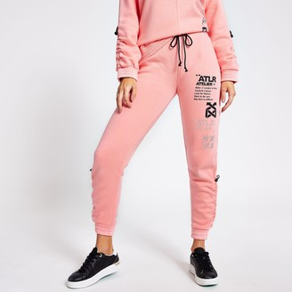 River Island Womens Pink 'ATLR' print ruched joggers
