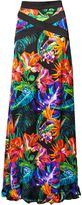 Matthew Williamson Black Maracas Montage Satin Maxi Skirt