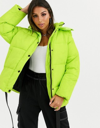 ASOS DESIGN puffer jacket with trim detail in lime