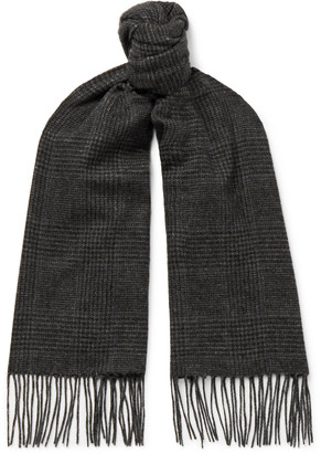 Ralph Lauren Purple Label Fringed Prince Of Wales Checked Camel Hair Scarf