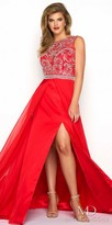 Mac Duggal Scroll Embellished High Slit Plus Size Evening Dress