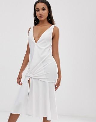 Asos Design DESIGN Plunge twist detail midi with drop waist-White