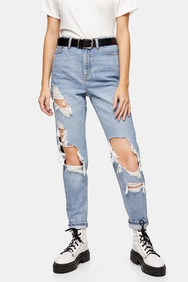 Topshop Bleach Super Rip Mom Tapered Jeans