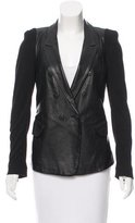 Yigal Azrouel Leather Rib Knit-Trimmed Jacket