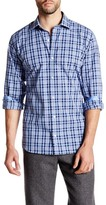 Tailorbyrd Collared Navy Long Sleeve Plaid Woven Shirt