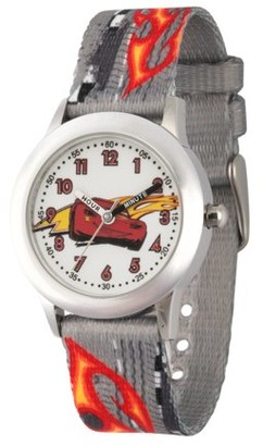 Disney Cars 3 Lightning McQueen Boys' Stainless Steel Time Teacher Watch, Grey Printed Fabric Strap