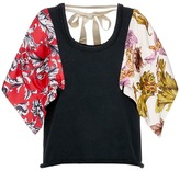 J.W.Anderson Floral print twill panel French terry tank top