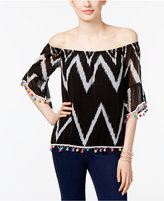 INC International Concepts Petite Printed Pom-Pom Off-The-Shoulder Top, Only at Macy's