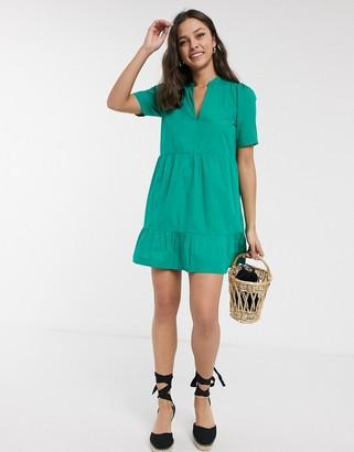 ASOS DESIGN cotton tiered mini smock dress in green