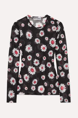 Molly Goddard Freddie Floral-print Mesh Top - Black