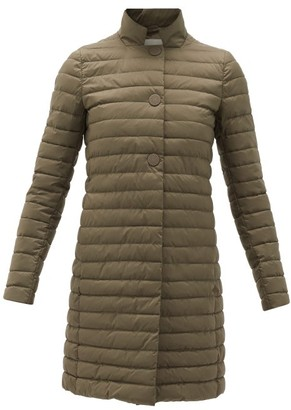 Herno Band-collar Quilted Technical-fabric Coat - Khaki