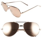 Linda Farrow Women's 59Mm 24 Karat Gold Trim Aviator Sunglasses - Rose Gold