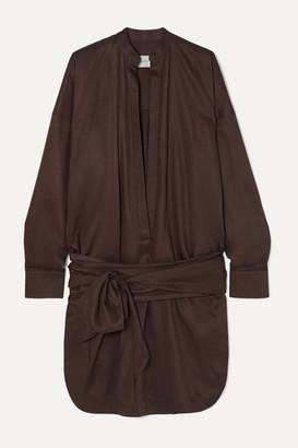 Bondi Born BONDI BORN - Tie-detailed Lyocell Mini Dress - Dark brown