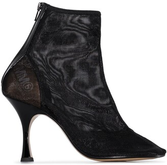 MM6 MAISON MARGIELA Mesh Square Toe Ankle Boots