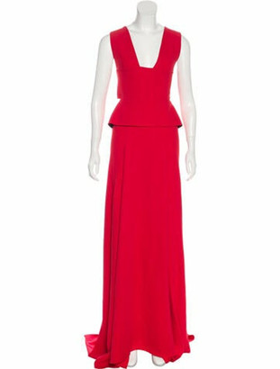 Roland Mouret Sleeveless Maxi Dress Red