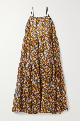 Lee Mathews Ariel Tiered Floral-print Linen And Silk-blend Maxi Dress - Brown
