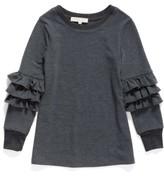 Truly Me Toddler Girl's Ruffle Sleeve Sweatshirt